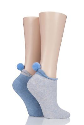 Ladies 2 Pair Elle Cushioned Trainer Liner Socks With Pom Pom • 9.99£