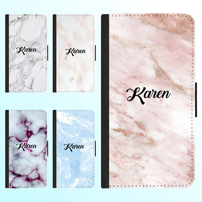 AU13.99 • Buy IPhone X 8 7 6 Plus PU Leather Flip Wallet Case Marble Personalised Initial Name
