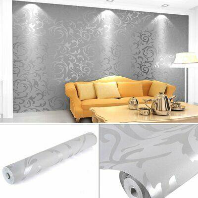 Modern Damask Wallpaper Embossed White Silver Dappled Grey Luxury Solid Color • 8.99£