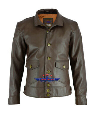 $150 • Buy Military Naval Pilot Real Leather Jacket Stand-up Collar Sea Land Flying Boats