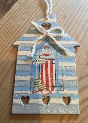 £4.50 • Buy Nautical Beach Hut Hanging Decorations Shabby Chic Hand Painted With Ducal