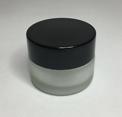 30ml Glass Jar, Frosted Glass Jar With Gloss Black Screw On Lid *ANY AMOUNT* • 20.25£