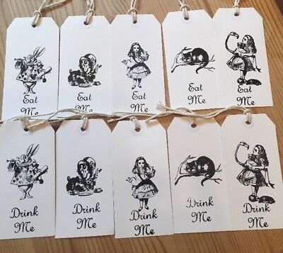 £3.49 • Buy 10 Eat Me Drink Me Alice In Wonderland Gift Tags, Party, Bottle Tag White Black