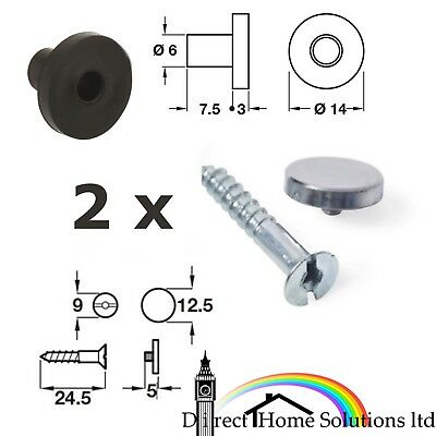 £4.99 • Buy 2 X Mirror Fixing Screws & Washers & Chrome Caps, Wall Hanging Fittings Fixings