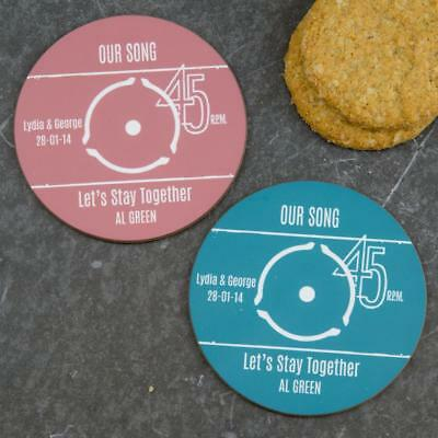 Vinyl Record Label Coasters Personalised Birthday Valentines Day Gift Idea 2/4 • 9.90£