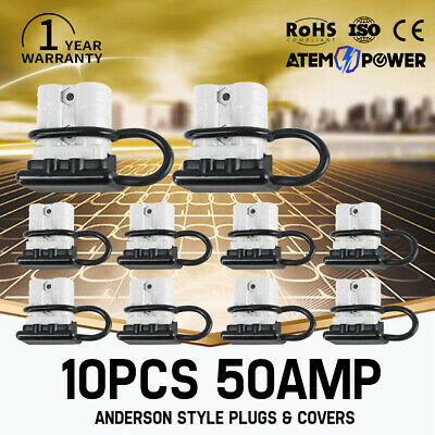 AU22.99 • Buy 10PC 50 AMP Anderson Style Plug Connectors With Dust Cap Cover DC 12V 24V 6AWG