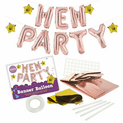 £3.99 • Buy Rose Gold Hen Party Balloon Banner Bunting 16  Foil Letters + Many FREE EXTRAS