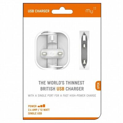 View Details Made In Mind Mu UK Charger USB Mains Travel Charger Plug - White • 5.99£