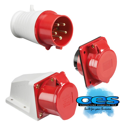 £3.55 • Buy 415v 32a 5 Pin Red Industrial Plugs & Sockets 3 Phase 3p+n+e Ip44 Male/female