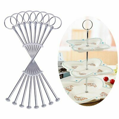 £11.99 • Buy 8 Sets 3 Tier Cake Plate Stand Handle Fittings Silver For Tea Shop Room Hotel