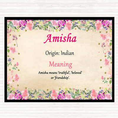 $ CDN11.65 • Buy Amisha Name Meaning Dinner Table Placemat Floral