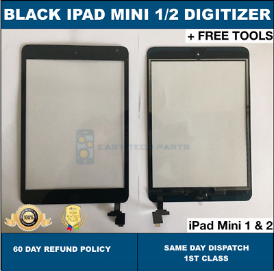 For Black IPad Mini 1/2 Touch Glass Digitizer Screen Replacement +IC Home Button • 12.99£
