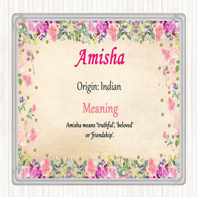 $ CDN8.56 • Buy Amisha Name Meaning Drinks Mat Coaster Floral