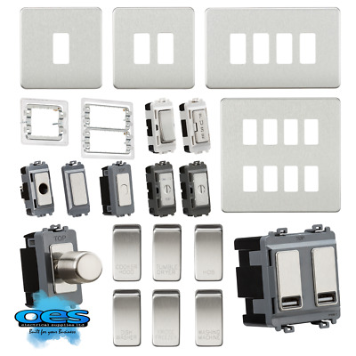 £7.95 • Buy  Knightsbridge Metal Custom Grid Front Plate Switch Components Brushed Chrome