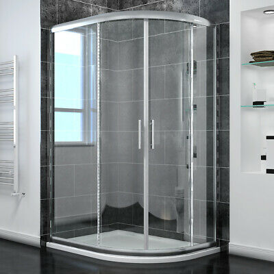 Walk In Quadrant Shower Enclosure And Tray Corner Glass Screen Sliding Door • 96.99£