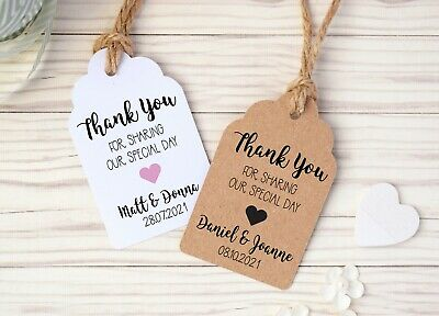 Personalised Wedding Favour Tags Thank You For Sharing Our Special Day - 3 Sizes • 1.29£