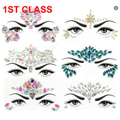 Face Gems Adhesive Glitter Jewel Tattoo Sticker Festival Rave Party Body Make Up • 2.29£
