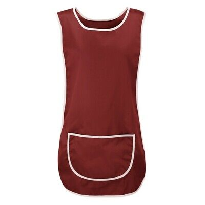 Top Quality Ladies Home / Work Tabard  Apron With  Pocket,  BURGUNDY WITH BORDER • 5.27£