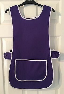 Top Quality Ladies Home Work Tabard  Apron Pocket PLAIN PURPLE WITH SIDE BUTTON  • 6.79£