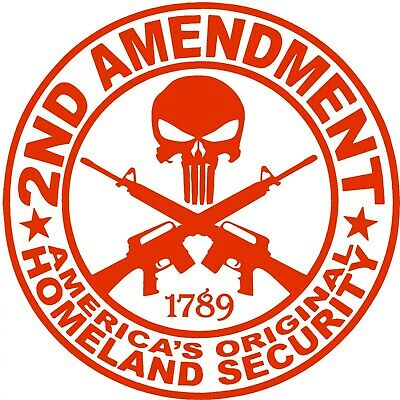 $ CDN4.72 • Buy 2nd Amendment Punisher Sticker - 2A Bill Of Rights Decal - Choose Color Size