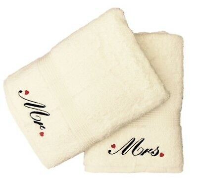 £23.99 • Buy Embroidered Mr And Mrs Bath Towel Pair With Hearts Motif (Cream)