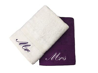 £22.99 • Buy Embroidered Mr & Mrs Purple And White Bath Towels Pair