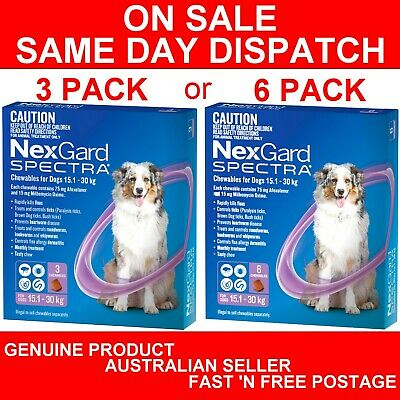 AU109.89 • Buy NexGard Spectra Chewables For Large Dogs Purple 15.1-30kg 3 Pack Or 6 Pack