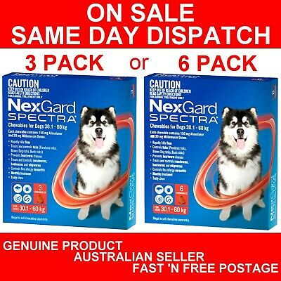 AU115.95 • Buy NexGard Spectra Chewables For Extra Large Dogs Red 30.1-60kg 3 Pack Or 6 Pack