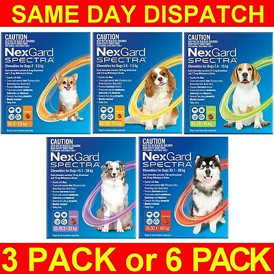 AU111.89 • Buy NexGard Spectra For Dogs 3 Or 6 Pack All Sizes Orange Yellow Green Purple Red