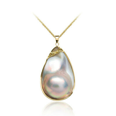 $906.30 • Buy Luminous AAA Huge Real Cultured Mabe Blister Pearl Pendant 18k Yellow Gold 2.2