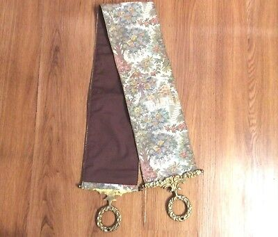 Vintage Corona Decor Servants Bell Pull Tapestry Wall Hanging Brass Ends Floral  • 98.09£