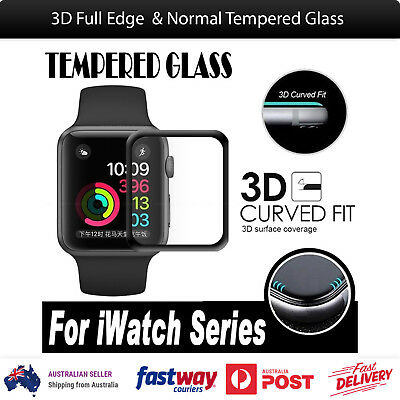 AU5.21 • Buy 3D Full Edge Tempered Glass Screen Protector For Apple Watch 38mm 42mm IWatch