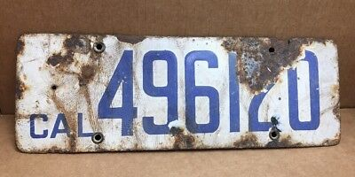 $ CDN106.51 • Buy Rare 1917 Porcelain ( California ) 496120 License Plate - Vintage