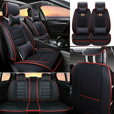 $85.50 • Buy Deluxe 5-Sits Car Seat Covers PU Leather Luxury Accessories Cushion + Pillows US