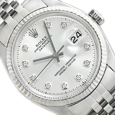 $ CDN5426.63 • Buy Mens Rolex Datejust 18k White Gold & Stainless Steel Silver Diamond Dial Watch