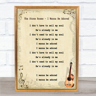 I Wanna Be Adored Song Lyric Vintage Quote Print • 29.95£