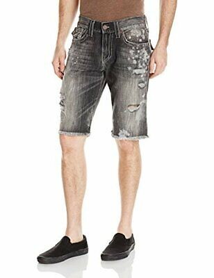 True Religion Men's Ricky Distressed Denim Jean Shorts W/ Rips In Deep Base • 54.13£