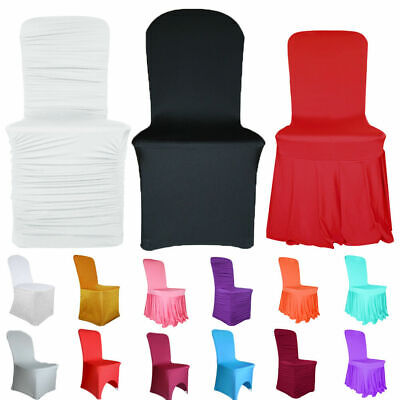 £5.99 • Buy Time To Sparkle 1-100pcs Chair Covers Slip Spandex Stretch Ruched Skirt Wedding