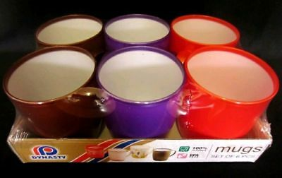 6 X  Dynasty Plastic Mugs 3 Asorted Colours Odourless & Food Grade BPA Free  • 7.49£