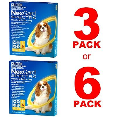 AU93.89 • Buy NexGuard Spectra Yellow For Dogs 3.6-7.5kg 3 Pack Or 6 Pack