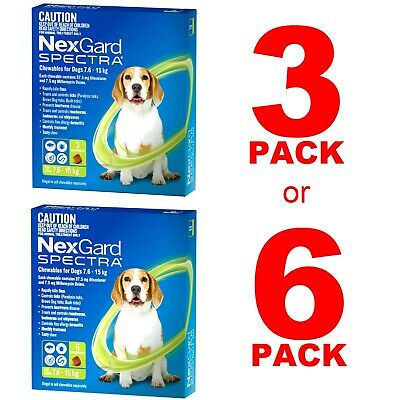 AU101.50 • Buy NexGuard Spectra Green For Dogs 7.6-15kg 3 Pack Or 6 Pack