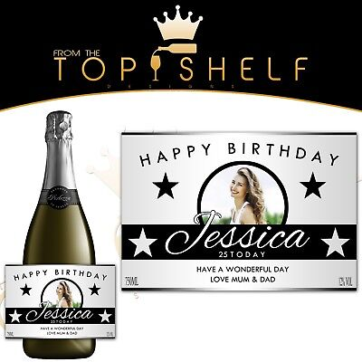Personalised Wine Champagne Prosecco Photo Bottle Label Birthday Any Occasion  • 3£