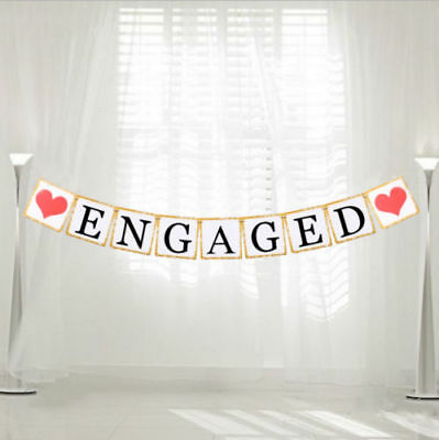 Engaged Bunting Banner Vintage Wedding Party Garland Hen Night Decoration • 3.09£