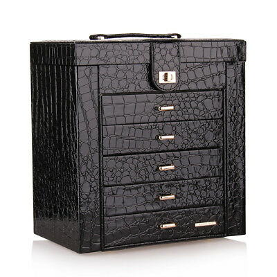 AU89.99 • Buy Large Jewellery Box Rings Necklace Storage Display Case Mirror Leather Organiser