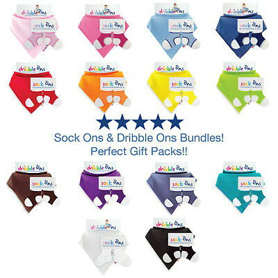 Baby Sock Ons 6-12 Months Sock Keepers & Dribble Ons Bandana Bib Set -Value Pack • 7.49£