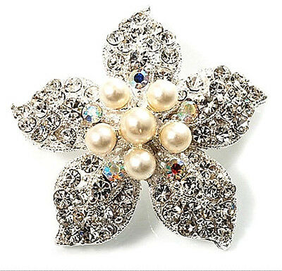 Silver Plated Cream White Pearl Bridal Dress Shoes Wedding Brooch Pin Decoration • 4.70£