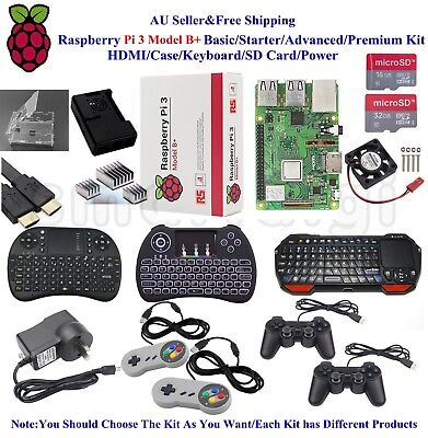 AU121.99 • Buy Raspberry Pi 3 Model B+ Basic/Starter/Advanced/Premium Kit HDMI/Game