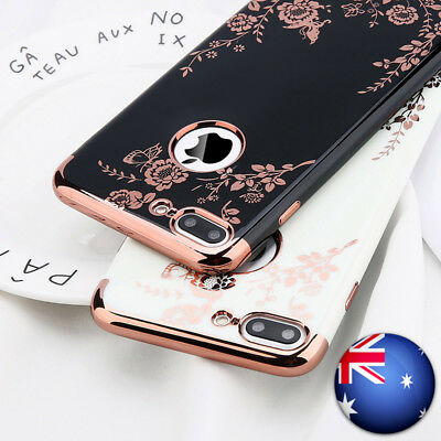 AU7.99 • Buy For IPhone 6s 7 7 Plus X Shockproof Plating Floral Slim Hybrid Bumper Case Cover