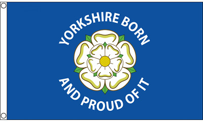 'Yorkshire Born And Proud Of It' Flag 5ft X 3ft York Yorkshire County Rose • 4.95£