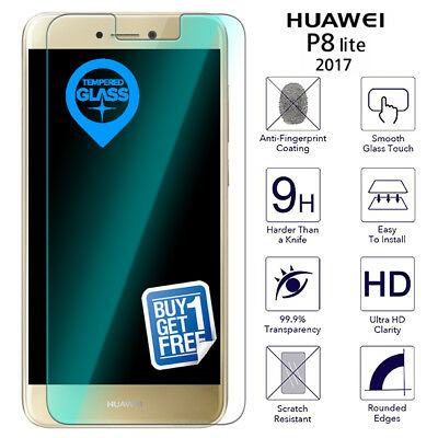 2 X For Huawei P8 Lite 2017 Tempered Glass Screen Protector Film Clear PRA-LX1 • 3.09£